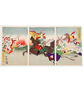 kunimasa V utagawa, war print, senso-e, battle, meiji period
