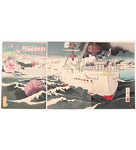 toshiaki nakazawa, war print, senso-e, japanese imperial army, meiji era, battleship