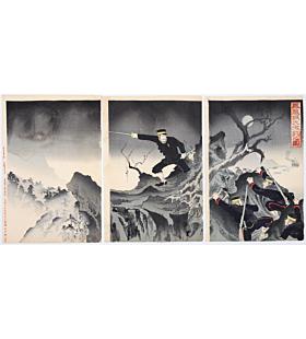 war print, senso-e, japanese history, japanese imperial army, meiji period, battle