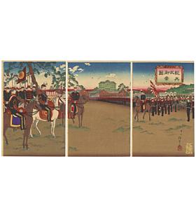 tankei inoue, war print, japanese imperial army, japanese history, meiji emperor, imperial flag