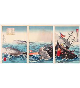 kyosui kawanabe, war print, senso-e, meiji period, battleship, battle, japanese history, japanese imperial army