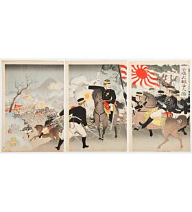 ginko adachi, war print, senso-e, japanese history, japanese army, imperial army, meiji period