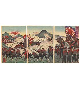 war print, battle, japanese imperial army, japanese history, meiji era