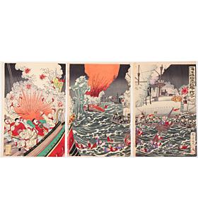 nobukazu yosai, war print, japanese history, naval battle, japanese ship