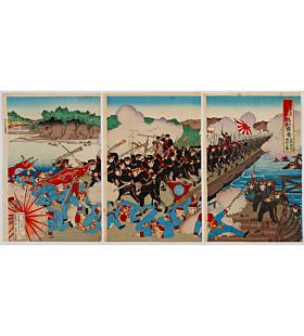kunitoshi utagawa, war print, japanese imperial army, japanese history, battle, meiji era