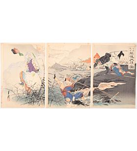 gekko ogata, war print, senso-e, battle, japanese history, japanese soldier, meiji period