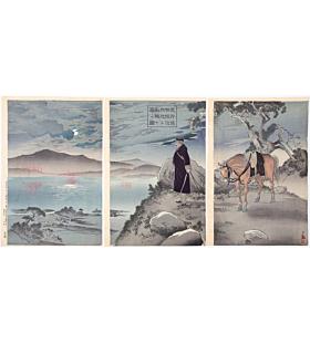 kiyochika kobayashi, war print, senso-e, japanese general, nightscene, japanese history, meiji era