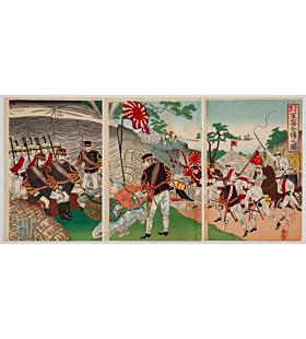 nobukazu yosai, war print, senso-e, japanese imperial army, battle, chinese, japanese history, meiji