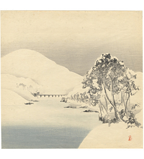 shotei takahashi, winter landscape, shin-hanga, neutral tones, bridge, river, snow