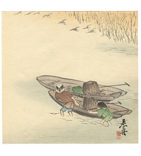 zeshin shibata, river fishermen, boat, traditional
