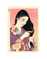 japanese woodblock print, contemporary art, kimono, summer, portrait, paul binnie