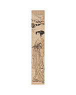 koryusai isoda, man with falcon, mount fuji, hashira-e