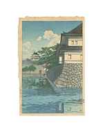 japanese woodblock print, japanese antique, tokyo, landscape, river, hasui kawase, blue