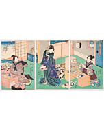 Kunisada I Utagawa, Making Hagoita, Battledore Rackets