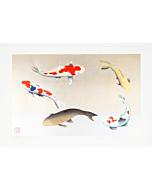 japanese woodblock print, birthday, koi fish, contemporary japanese art, kunio kaneko, birthday gift, present