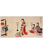chikanobu yoshu, setsubun, kimono design