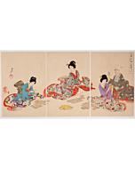 chikanobu yoshu, karuta card game, kimono