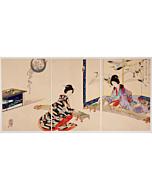 chikanobu yoshu, playing the koto, music, kimono