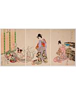 chikanobu yoshu, pug, kimono design