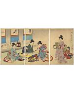 chikanobu yoshu, new year custom, kimono design