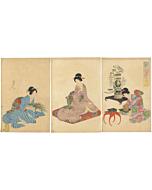 chikanobu yoshu, flower arrangement, ikebana, kimono