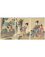 chikanobu yoshu, waterfall, kimono design