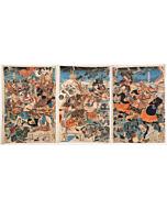 yoshitora utagawa, battle triptych, warrior, samurai