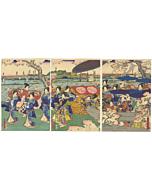 Sadahide Utagawa, Court Ladies, Cherry Blossom, sakura, japanese woodblock print, japanese antique