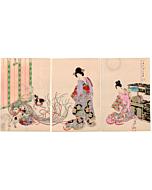 Chikanobu Yoshu, Chiyoda Palace, kimono, dog, japanese woodblock print, japanese antique