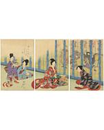 Chikanobu, japanese court lady, tokugawa, edo, japanese antique, japanese woodblock print, kimono