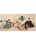 chikanobu yoshu, Japanese Coming-of-Age Ceremony for Female, Mogi (裳着), kimono fashion