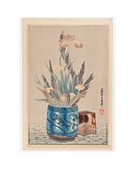 mokuchu urushibara, Flowers in the Vase with Fish Design