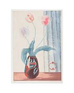 mokuchu urushibara, tulips in vase, flower print