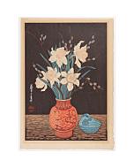 mokuchu urushibara, Waterlily and Chinese Vase , flower print