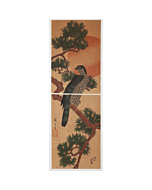 hiroshige I utagawa, Kakemono-e, Falcon, Pine, and Sunrise, bird and flower