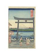 hiroshige ando, enoshima, mount fuji, landscape