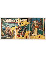 toyokuni III utagawa, tale of genji, kimono design
