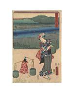 hiroshige ando, toyokuni III utagawa, abe river, landscape