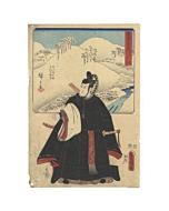 hiroshige ando, toyokuni III utagawa, snow landscape, actor