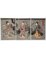 toyokuni III utagawa, plum tree, winter, kimono design