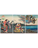 toyokuni III utagawa, noh performance, theatre, triptych