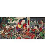 Chikanobu Yoshu, Kabuki Play, Warriors, Meiji Era Theatre