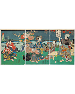 kunisada II utagawa, Price Genji and Court Ladies at the Festival