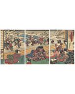 toyokuni III utagawa, tale of genji, snow scene, landscape, kimono, winter