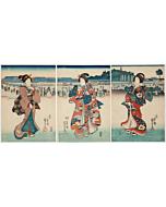 Kuniyoshi Utagawa, Ladies Walking Down the Street, Kimono Fashion