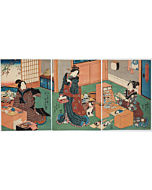kunisada I utagawa, hagoita, beauty, battledore