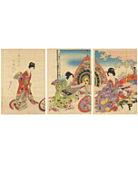 chikanobu, tokugawa, japanese court lady, sakura, kimono, japanese woodblock print, japanese antique