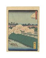 hiroshige II utagawa, sumida river, famous views of edo, landscape, edo period, cherry trees, sakura