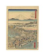 hiroshige II, fish market, nihonbashi, japanese woodblock print, mount fuji