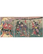 Toyokuni III Utagawa, White Fox Woman, Spirits, Triptych, Yokai, Kabuki Play, Warrior, Beauty, Original Japanese woodblock print